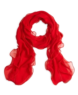 Brooks Brothers - Silk Chiffon Ruffle Oblong Scarf