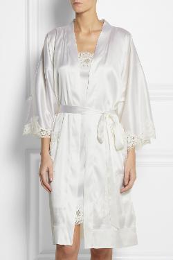 Dolce & Gabbana  - Lace-trimmed stretch-silk satin robe