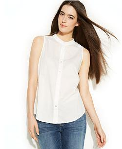 Eileen Fisher  - Sleeveless Button-Down Shirt