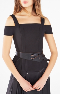 BCBGMAXAZRIA - Looped Faux Leather Waist Belt