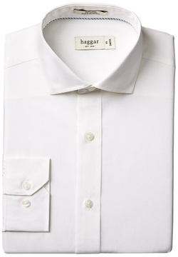 Haggar - Solid Fitted Spread Collar Dress Shirt