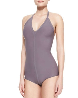 Rick Owens   - One-Piece Seamed Halter Swimsuit