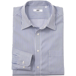 Uniqlo - Men Easy Care Stripe Long Sleeve Shirt