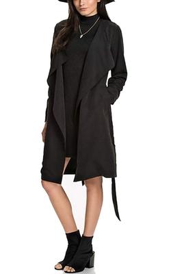 Eshion - Long Sleeve Open Front Drape Coat