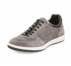 Giorgio Armani - Perforated Suede Low-Profile Sneakers