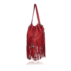 River Island - Leather Fringed Bucket Handbag