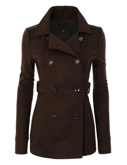 Le3no - Double Breasted Trench Pea Coat