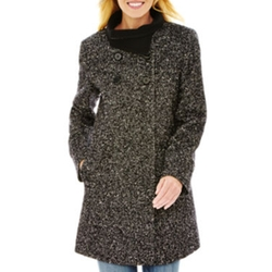Worthington - our-Button Babydoll Wool-Blend Coat