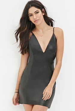 Forever 21 - V-Neck Faux Leather Dress