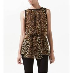 Maykool - Leopard Printed Sleeveless Chiffon