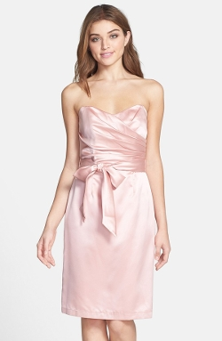 Dessy Collection  - Cross Draped Strapless Satin Sheath Dress