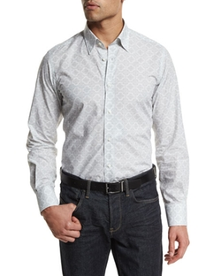 Neiman Marcus - Medallion-Print Long-Sleeve Sport Shirt