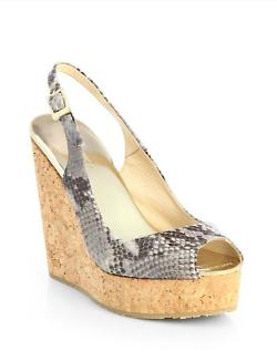 Jimmy Choo  - Prova Snakeskin Slingback Wedge Sandals