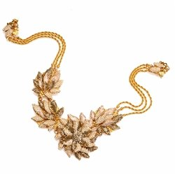 Miriam Haskell  - Gold Pearl Necklace with Leaf And Flower Chain