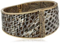 The SAK  - Python Hinge Brown Bangle Bracelet