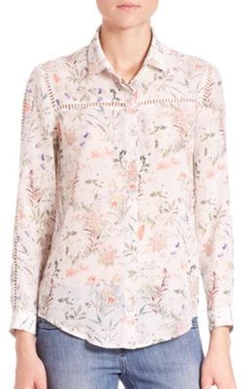 The Kooples - Botanic Print Crepe de Chine Top