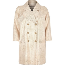 River Island - Cream Sixties Jacquard Coat