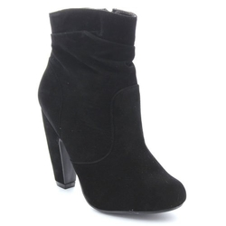 Bamboo - Slouchy Chunky Heel Side Zipper Fashion Ankle Booties