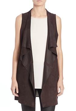 Eileen Fisher - Suede Cascade-Front Vest