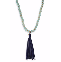 Jonesy Wood  - Wood & Leather Beaded Tassel Necklace