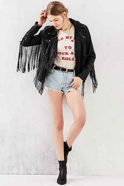 Blank NYC - Vegan Leather Fringe Jacket