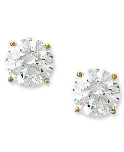 CRISLU Earrings,  - 18k Gold over Sterling Silver Cubic Zirconia Stud Earrings