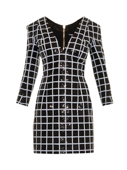 Balmain - Sequin-Grid Dress