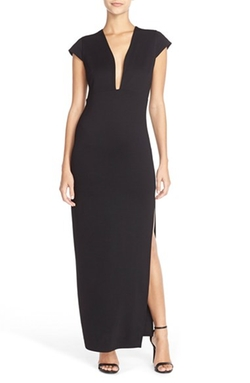 Fraiche By J - Plunge Neck Jersey Maxi Dress