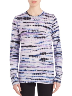 Proenza Schouler  - Long-Sleeve Tie-Dye Cotton Jersey Tissue Tee