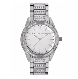 Sean John - Crystal Accent Silver-Tone Bracelet Watch