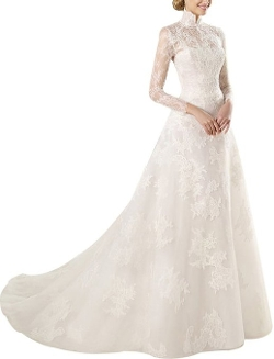 Ailimisi - Long Lace Sleeves Beads Veil Train Wedding Dress