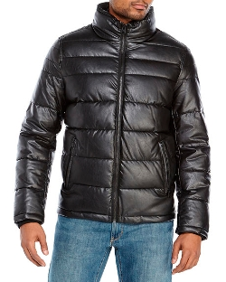 Dockers  - Black Faux Leather Puffer Jacket
