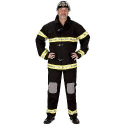 Costumelicious  - Aeromax Mens Deluxe Fireman Fire Fighter Black Uniform Costume