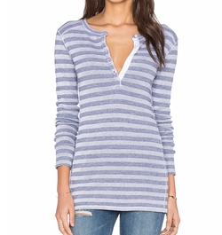 Stateside - Stripe Thermal Henley Top