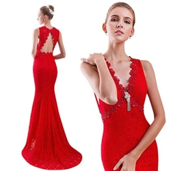 Beautbride - Long Sexy V Neck Lace Evening Gown