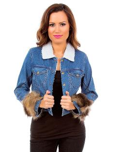 Haute 18  - Faux Fur Wrist Denim Jacket