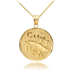 Trendy Necklaces - Cuba-USA Medallion Pendant Necklace