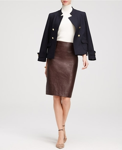Ann Taylor - Faux Leather Pencil Skirt