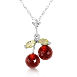Galaxy Gold Products Inc. - Garnet And Peridot Pendant Necklace
