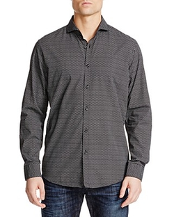 Hugo Boss - Lennie 2 Micro Check Regular Fit Button Down Shirt