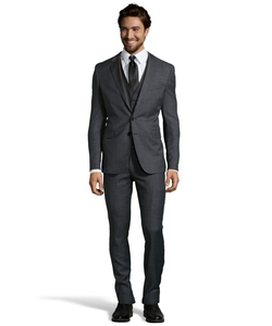 Hugo Boss - Charcoal Microcheck Wool Three Piece Suit With Flat Front Pants