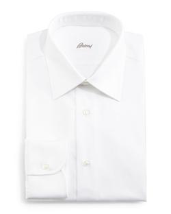 Brioni  - Herringbone-Stripe Dress Shirt