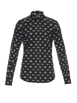Dolce & Gabbana - Gold Fit Crown-Print Shirt