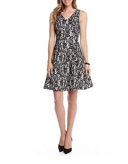 Karen Kane  - Bonded Lace V-Neck Dress