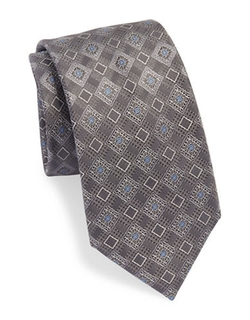 Black Brown 1826  - Silk Diamond Print Tie
