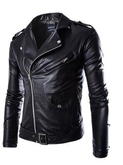 Geval Men - Fashion British PU Moto Jacket