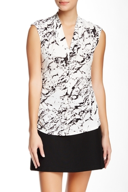 Vince Camuto - Marble Print V-Neck Blouse