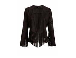 Pretty Attitude  - Womens Faux Suede Fringe Open Jacket