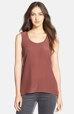 Eileen Fisher  - Long Silk Scoop Neck Tank