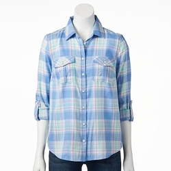 Sonoma Life + Style - Plaid Roll-Tab Camp Shirt
